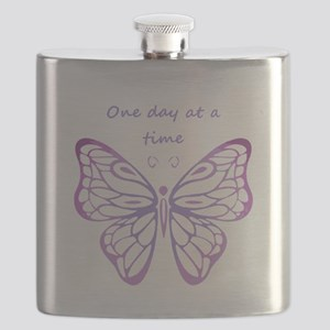 One Day at a Time Quote Butterfly Art Flask