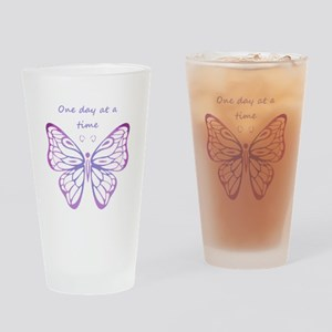 One Day at a Time Quote Butterfly Art Drinking Gla