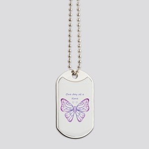 One Day at a Time Quote Butterfly Art Dog Tags