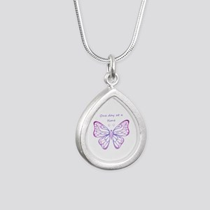 One Day at a Time Quote Butterfly Art Necklaces