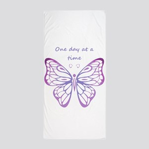One Day at a Time Quote Butterfly Art Beach Towel