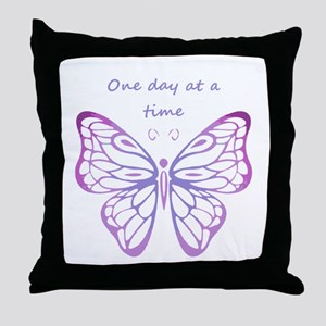 One Day at a Time Quote Butterfly Art Throw Pillow