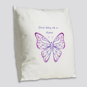 One Day at a Time Quote Butterfly Art Burlap Throw