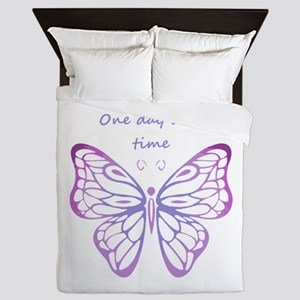 One Day at a Time Quote Butterfly Art Queen Duvet