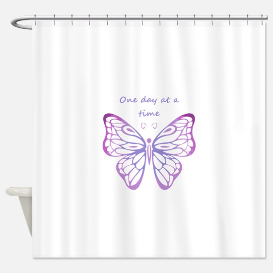 One Day at a Time Quote Butterfly Art Shower Curta