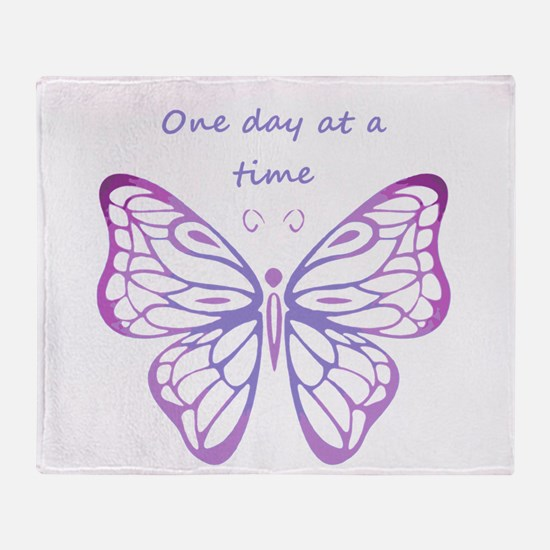 One Day at a Time Quote Butterfly Art Throw Blanke