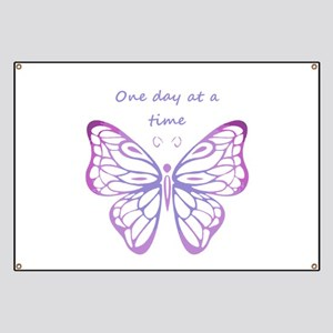 One Day at a Time Quote Butterfly Art Banner