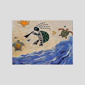 Kokopelli Turtle 5'x7'Area Rug
