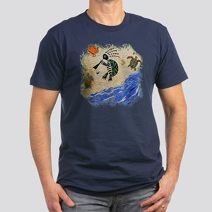 Kokopelli Turtle Men's Fitted T-Shirt (dark)