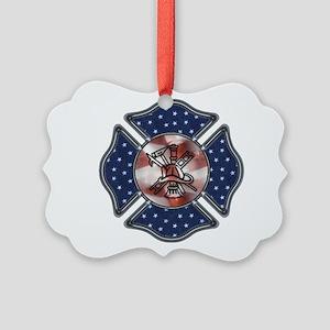 Patriotic Fire Dept Ornament
