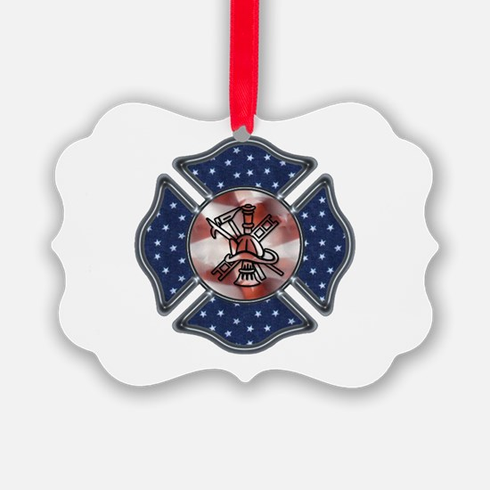 Patriotic Fire Dept Ornament