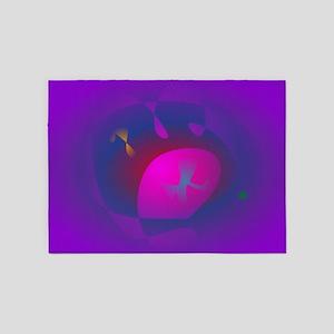 Abstract Purple Nebula Art 5'x7'Area Rug