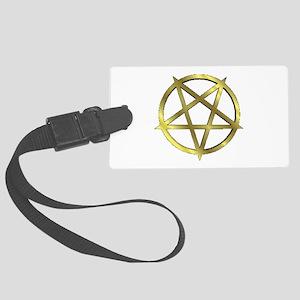 Inverted Gold Pentagram Large Luggage Tag