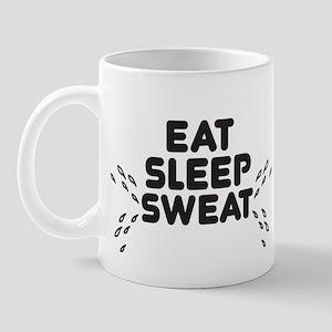 Eat Sleep Sweat (left) Mugs