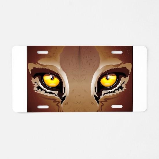 Wild Puma Eyes Aluminum License Plate