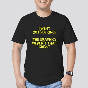 I went outside once Men's Fitted T-Shirt (dark)