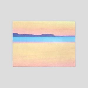 Colorful Pastel Bay - Beach Design 5'x7'area Rug