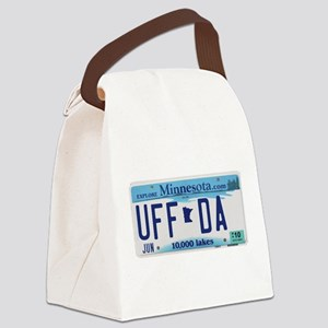 UffdaLicensePlate Canvas Lunch Bag