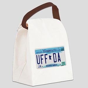 UffdaLicensePlate Canvas Lunch Bag