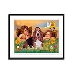 2 Angels & Basset Framed Panel Print