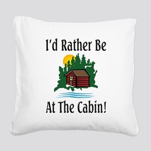 At The Cabin Square Canvas Pillow