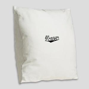 Kruger, Retro, Burlap Throw Pillow