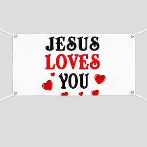 Jesus loves you -Hearts Banner