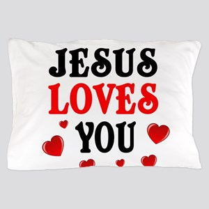 Jesus loves you -Hearts Pillow Case