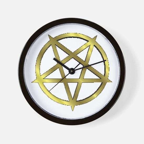 Inverted Gold Pentagram Wall Clock