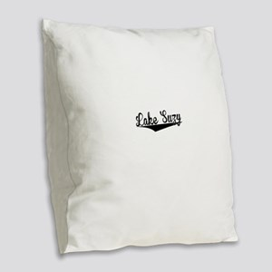 Lake Suzy, Retro, Burlap Throw Pillow
