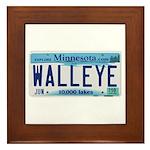 Minnesota Walleye License Plate Framed Tile