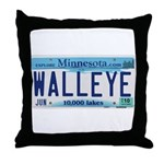 Minnesota Walleye License Plate Throw Pillow