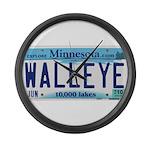 Minnesota Walleye License Plate Large Wall Clock