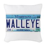Minnesota Walleye License Plate Woven Throw Pillow