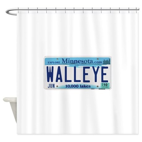 Minnesota Walleye License Plate Shower Curtain By Lakesnwoods