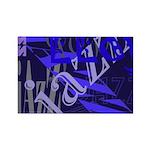 Jazz Blue on Blue Rectangle Magnet (100 pack)