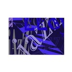 Jazz Blue on Blue Rectangle Magnet