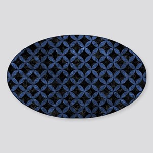CIRCLES3 BLACK MARBLE & BLUE STONE Sticker (Oval)