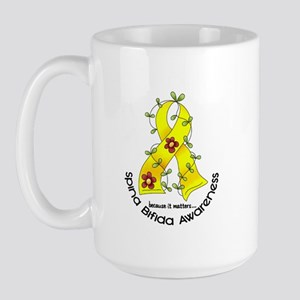 Spina Bifida FlowerRibbon1.1 Large Mug