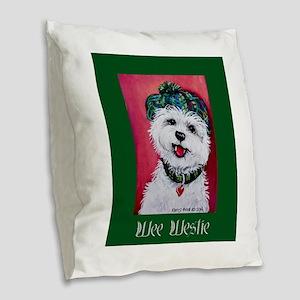 Wee Westie Burlap Throw Pillow