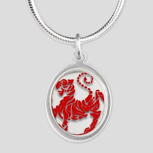 Shotokan Tiger Silver Oval Necklace