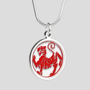 Shotokan Tiger Silver Round Necklace