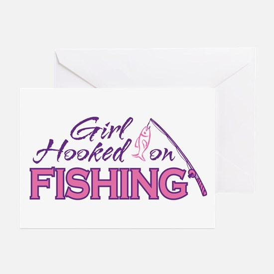 Girl Hooked On Fishing Greeting Cards (Package of
