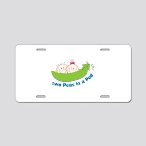 two peas in a pod Aluminum License Plate