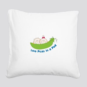 two peas in a pod Square Canvas Pillow