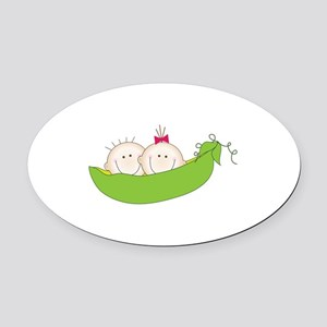 Peas In A Pod Oval Car Magnet