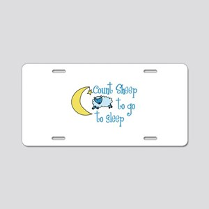Count Sheep to go to sleep Aluminum License Plate