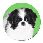 Japanese Chin Round Car Magnet