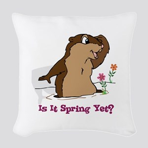 Is It Spring Yet Woven Throw Pillow