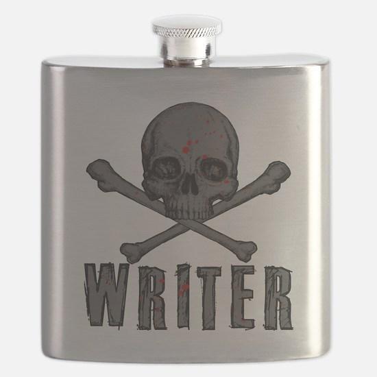 Writer-skull-splatter Flask